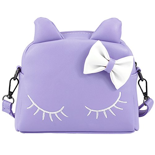 CMK Trendy Kids Cute Little Girls Cat Purse for Toddler Kids Mini Backpack Bags with Bows (82003_Purple), regular