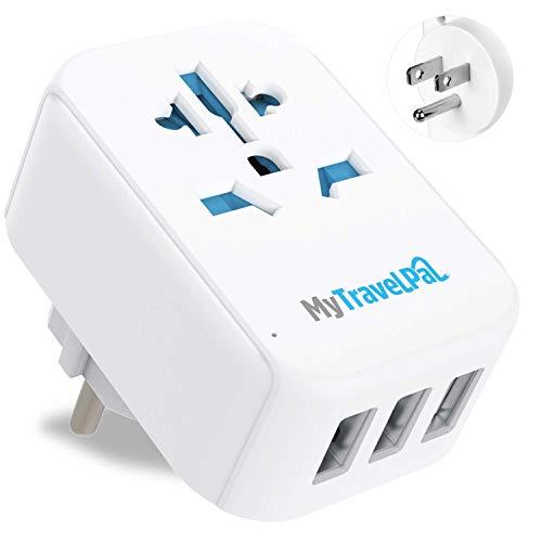 MyTravelPal™ UK-zu-US-Stecker-Adapter mit 3 USB-Ports, sicherer und geerdeter Typ B, US-Reiseadapter mit Überspannungsschutz – USA Mexiko Kanada Thailand