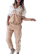 Vertvie Sportpak voor dames, trainingspak, joggingpak, 2-delig vrijetijdspak, capuchontrui, lange mouwen, rits, top + lange broek, sportswear, 2-delig kledingset sport