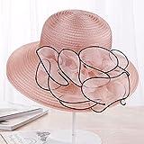 NJJX Verano De ala Grande Playa Sombreros para El Sol para Mujeres Protección UV Mujeres Gorras Sombrero Estilo Moda Dama Flores Sombrero para El Sol 55-59 Cm 3
