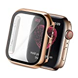 Yolovie Compatible for Apple Watch SE Series 6/5/ 4 Case with Tempered Glass Screen Protector 44mm, Hard PC Bumper Overall Protective Cover Frame for iwatch Accessories (44mm Rose Gold)