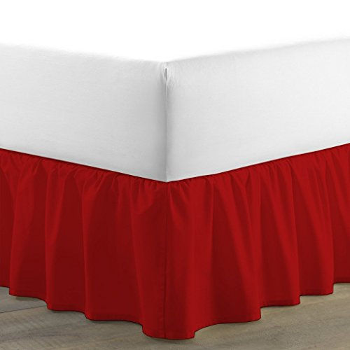 Best Bedding Store Egyptian Cotton 300 Series 1 PC Tailored Single Ruffled/Dust Ruffle Bed Skirt (Blood Red, King, Drop Length 15 Inches)