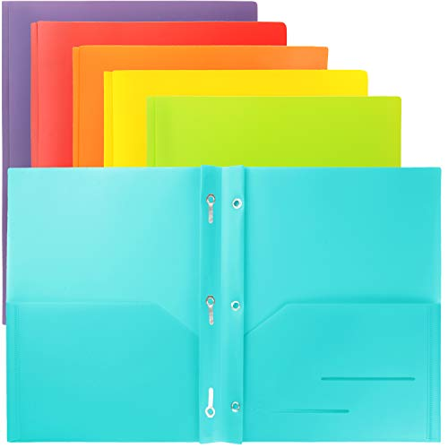 Youngever 6 Pack Heavy Duty Plastic Two Pocket Folders with 3 Prongs, Metal Prongs Fastener, Heavy Duty Plastic 2 Pocket Folder, in 6 Colors