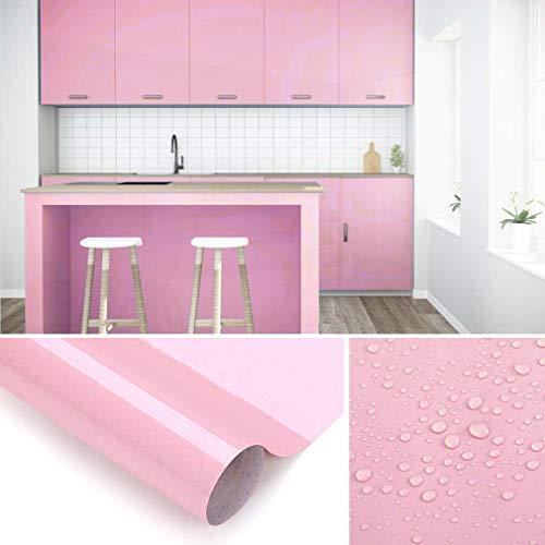 KINLO Papel de Cocina Rosado 60x500cm de PVC Adhesivo para Armario Cocina Papel Adhesivo para Muebles Papel Impermeable Autoadhesivo para Armario de Cocina Papel Decorativo con Brillo