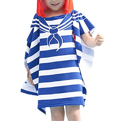 KAKAF Toalla infantil Poncho 100% algodón, toalla de playa con capucha, poncho, albornoz con capucha para niños y niñas de 2 a 7 años, playa, 60 x 60 cm