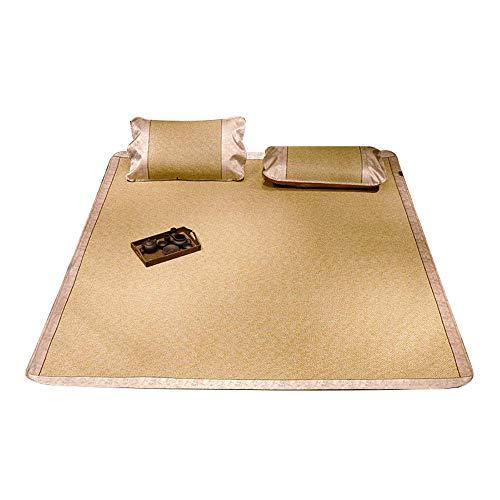 NCHEOI Cama de la Estera de bambú/Almohadilla de Verano de enfriamiento de Verano/colchón de ratán, diseño Retro Plegable Hojas Frescas y combinación de Funda de Almohada