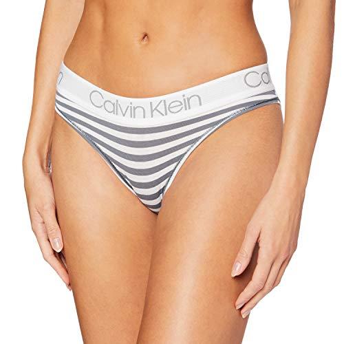 Calvin Klein Braguita de Bikini, Gris (Marching Stripe_Cinder OPX), (Talla del Fabricante: Medium) para Mujer