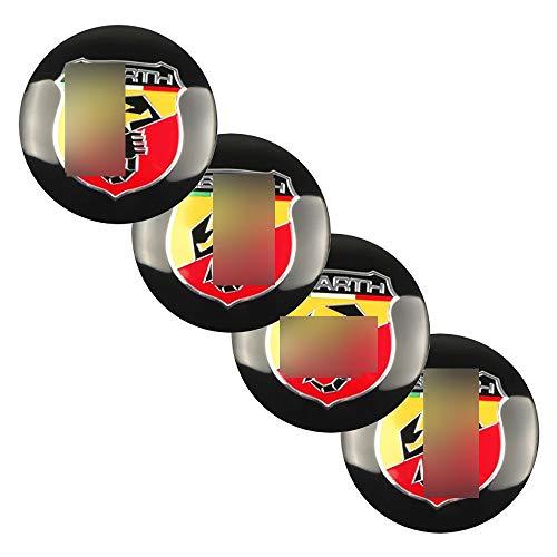 Wlkjhty Juego de 4 Tapacubos para Abarth 500 Punto Stilo Ducato Palio Bravo, 56mm/2.2'' Tapa Centro Rueda Llanta Aluminio, Coche Estilo Accesorios Emblema Adhesivo Tapas de Rueda Tapas de Centro