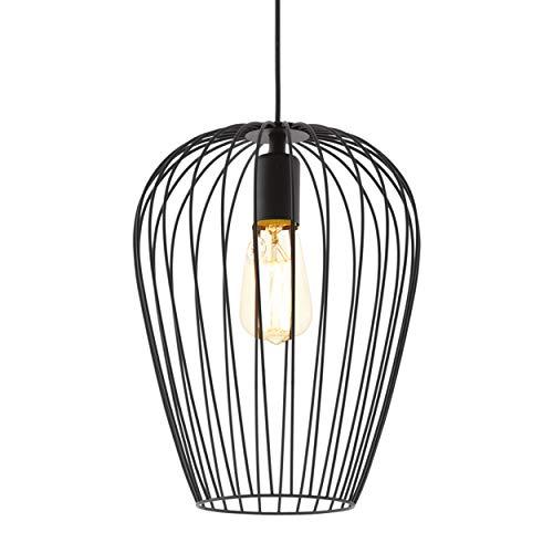 EGLO Lustre NEWTOWN, suspension à flamme vintage, lampe suspendue rétro en acier, couleur : noir, douille : E27, Ø : 27,5 cm