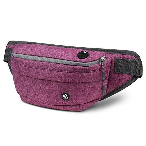 WATERFLY Bauchtasche Multifunktionale Gürteltasche Wasserdicht Hüfttasche mit 5 Fächern - ideal für Outdoor Radfahren Reise Wanderung Damen und Herren (Violett)