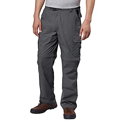 BC Clothing Men's Convertible Stretch Cargo Hiking Pants Shorts, Zippered Pockets (Large x 30L, Charcoal Grey)
