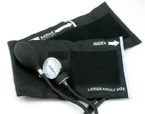 EMI Aneroid Sphygmomanometer Manual Blood Pressure Cuff - Plus Carrying Case (Large Adult - Black)