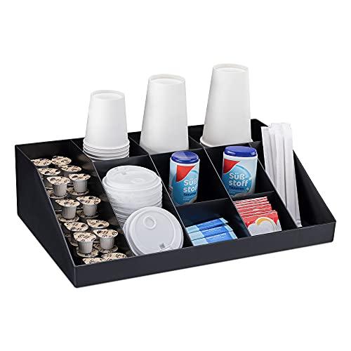 Navaris Kaffee Spender Organizer - Aufbewahrung von Zubehör - Kaffeebar für u. a. Zucker Milch Servietten Kapseln - Kaffeestation 10 Fächer schwarz