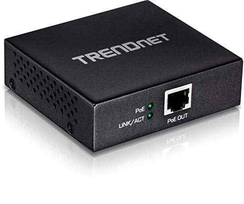 TRENDnet Gigabit PoE+ Repeater/Amplifier, 1 x Gigabit PoE+ In Port, 1 x Gigabit PoE Out Port, Extends 100m For Total Distance Up To 200m (656 ft), Supports PoE(15.4W) & PoE+(30W), Black, TPE-E100