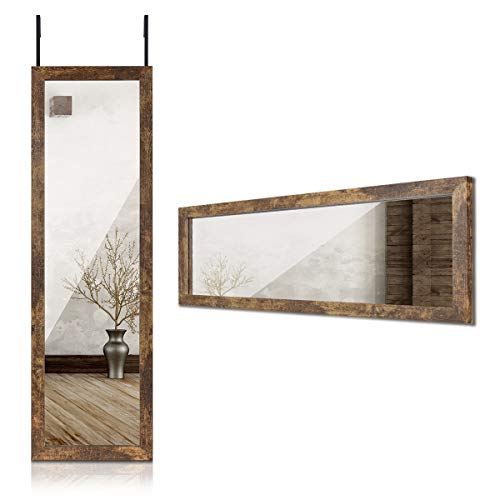 "Sunix Wall Mirror, Rustic Full Length Mirror Wall Mount Mirror Door Mirror 48"" x 14"" Dressing Mirror with Rustic Wood Frame"