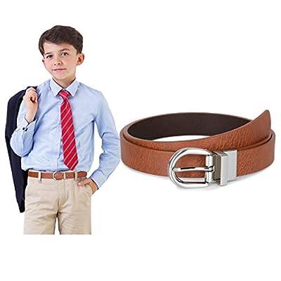 Boys Leather Belt SUOSDEY Big Kids Reversible Belt for School Uniform Casual Jeans,brown/coffee,M