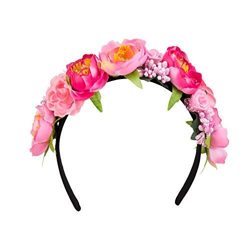 Boland 52218 - Tiara Lotus, Haarreif, one size, schwarz-pink, bunt, Blumen, Sommer, Beach, Ibiza, Hawaii, Karneval, Halloween, Fasching, Mottoparty, Kostüm, Theater, Verkleidung, Accessoire