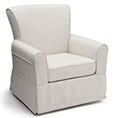Fully upholstered glider with a gentle swivel and glide motion Sturdy frame providing stability Durable steel mechanisms to ensure quiet movements Armrests are thickly padded for comfort Seat cushion is plush and removable for easy cleaning Easy-to-c...