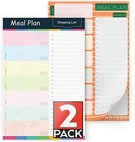 Arteza Planificador semanal de comidas, bloc de notas magnético (15,2 x 22,9 cm), juego de 2 libretas de 60 páginas, papel de 100 gms perforado para arrancar fácilmente, listas de compra para el frigo