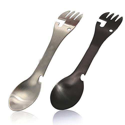 Cuchara de tenedor multifunción, cuchara de acero inoxidable 5 en 1, cuchara de acero inoxidable, tenedor, cuchillo, abrelatas y abrelatas de botellas, cubiertos múltiples para acampar, senderismo, he