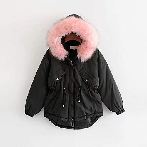XUEPING Girls Winter Coats, Women's Jackest, Warm Jacket Cotton Coat, One piece Cap Loose Leisure Thicken student Snow Coat M XL (black White) (Color