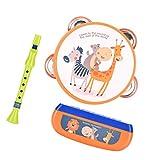 TOYANDONA, 1 set di strumenti musicali per bambini, in plastica, con stampa animale, armonica a bocca, clarinetto a mano, tamburo, armonica a bocca, per lo sviluppo educativo, giocattolo per bambini