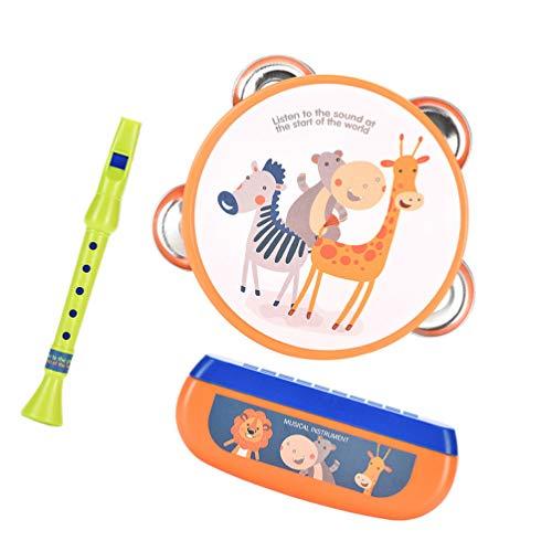 TOYANDONA 1 Set Baby Musikinstrument Set Kunststoff Tierdruck Mundharmonika Klarinette Hand Trommel Mundharmonika Set Frühe Pädagogische Entwicklung Sound Spielzeug für Baby Kleinkind