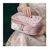 WYDMBH Neceser Maquillaje Bolsa de Almacenamiento cosmético portátil de Gran Capacidad Franela Femenina Viajes Bolso Embrague Sedoso Estrellado Cielo Accesorios de Almacenamiento (Color : Pink)