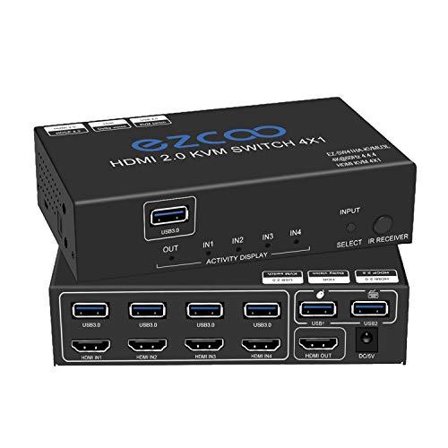 4 Port HDMI KVM Switch USB 3.0 4K@60Hz 4:4:4 Ultra HD | 4x1 KVM Switcher 4 in 1 Out mitSPDIF 5.1, Audio-Breakout, Maus / Tastatur / kabellos, USB für PC, Drucker, Scanner, Windows, Linux,