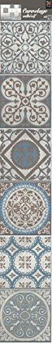 Plage Smooth - Tiles Fliesen Sticker Zementfliesen BAIXA [6 Bogen 15 x 15 cm x 5.90'' ], Vinyl, Blue and Brown, 15 x 0,1 x 15 cm