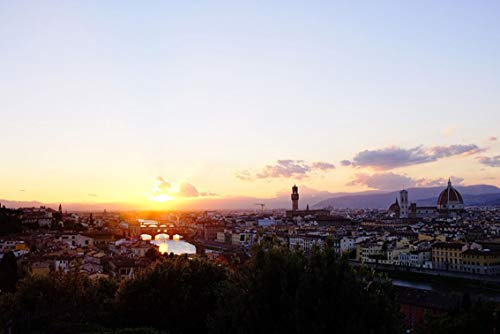 Wall Art Print on Canvas(32x21 inches)- Sunset City View Florence Italy