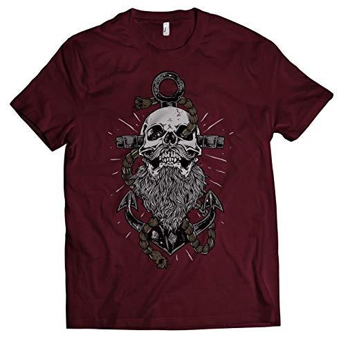 NG articlezz Herren T-Shirt Captain Skull Anker Beard Totenkopf
