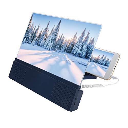 ASHATA schermvergroter voor mobiele telefoon,12-inch acryl + ABS blauwe luidspreker voor mobiele telefoon Videoversterker, mobiele telefoonversterkerstandaard HD-schermversterker voor binnen