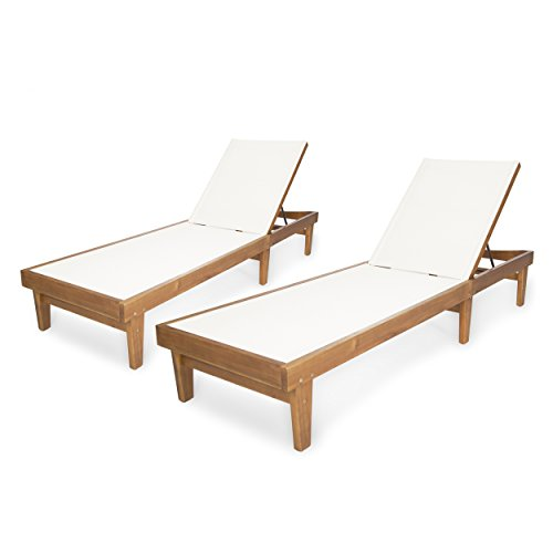 Christopher Knight Home 304497 Shiny Outdoor Wood Chaise Lounge (Set of 2), Teak Finish/White Mesh