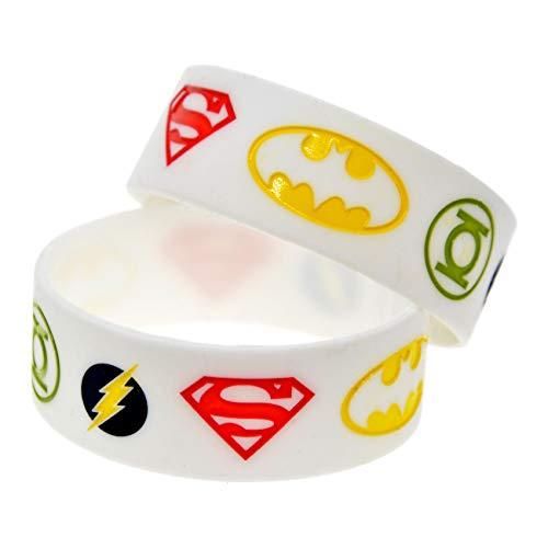 HSJ 2 Unids 1 Pulgada Justicia League Pulsera Silicona Batman Superman Flash Flash Linterna Pulsera Pulsera Pulsera Perfectamente Inspire Fitness
