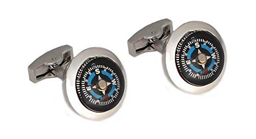 Unbekannt Manschettenknöpfe Kompass rund schwarz silbern blau rot + schwarzer Geschenkbox