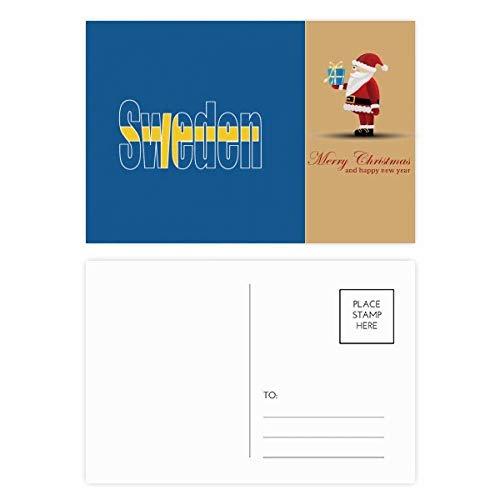 Postkarten-Set mit Schweden-Flagge, Name, Weihnachtsmann, 20 Stück