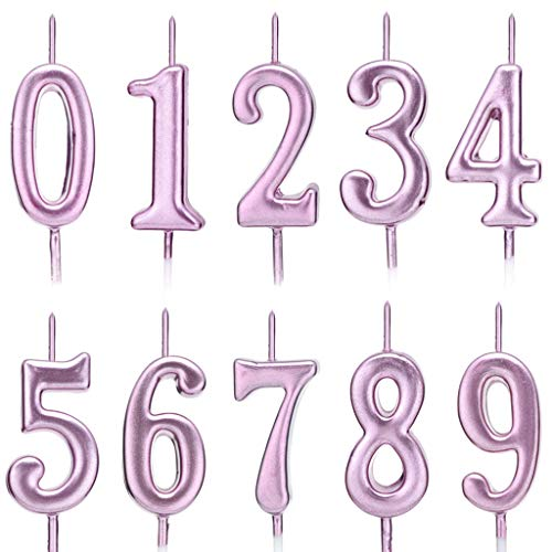 Feelairy 10 Pezzi Digitale Compleanno Candele, Numero di Compleanno Candele Numeri Candele 0-9 Glitter Cake Topper Buon Compleanno Cake Topper per Compleanno Torta (Oro Rosa)