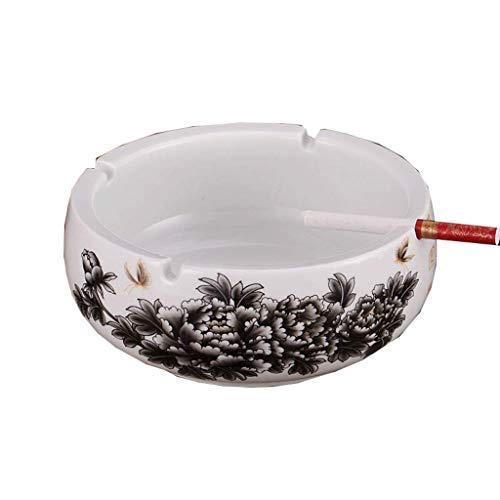 NGXIWW draagbare asbak, praktische asbak van keramiek, blauw en wit porselein rond huishouden eettafel voor geschenken en decoratie gemakkelijk te reinigen