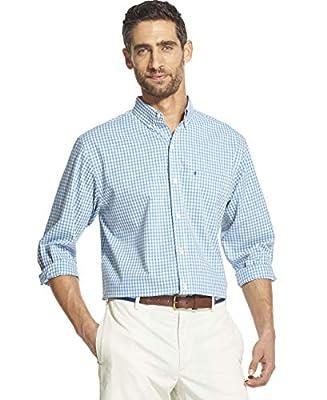IZOD Men's Button Down Long Sleeve Stretch Performance Gingham Shirt, anise flower, Medium