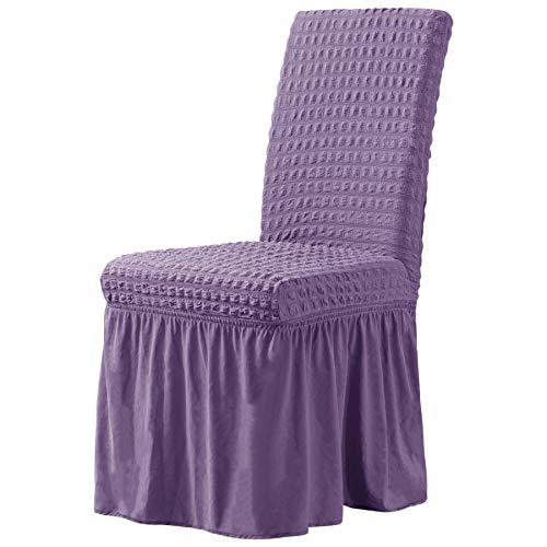 CHUN YI - Funda de silla de comedor extensible universal con falda, protector de muebles extraíble lavable para banquetes, ceremonias, banquetes, fiestas de boda (2 piezas, lavanda)