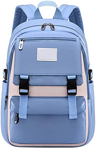 Schulrucksack Schultaschen für Mädchen Teenager, Casual Canvas Schulrucksack Causal Rucksack Freizeitrucksack Daypacks Backpack für Mädchen Jungen Teenager Laptop Rucksack Outdoor Reisetasche Blau