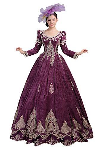 High-End Court Rokoko Barock Marie Antoinette Ballkleider 18. Jahrhundert Renaissance Historische Periode Kleid Gewand für Frauen (klein, tiefer Rotwein)