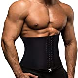 TOAOLZ Men Waist Trainer Slimming Belt Weight Loss Fitness Neoprene Fat Burner Sweat Trimmer Back Support Band (Black, Small)