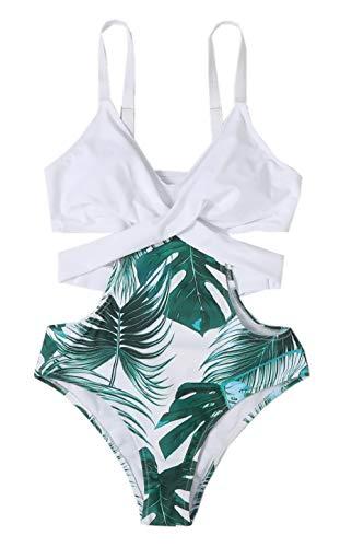 ZIYYOOHY Damen Einteiliger Badeanzug Monokinis V-Ausschnitt Kreuz Raffung Bauchweg Einteilige Bademode Swimsuit (4804 Weiß, L)