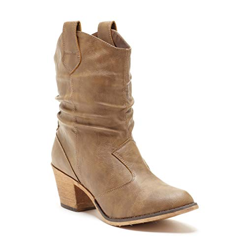 Charles Albert Women's Modern Western Cowboy Distressed Boot with Pull-Up Tabs (Mocha, numeric_8)