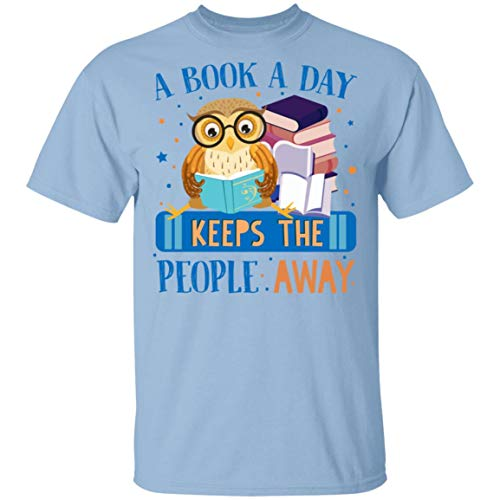 A Book A Day Keeps The People Away Owl Reading T-Shirt - Book Lover Shirt, S, Unisex T-Shirt/Light Blue