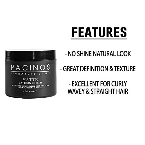 Pacinos Matte, Hair Paste with Flexible Hold & No Shine, Sculpting & Styling Wax for All Hair Types, Add Long Lasting Definition & Texture for a Natural Looking Hairstyle with No Flakes, 4 oz