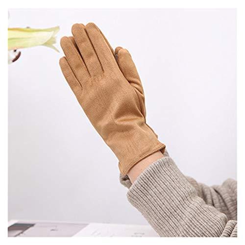 Jfsmgs Guantes Mujeres Invierno más Terciopelo Espesar cálido Pantalla táctil conduciendo Mitones Hembra Gamuza Cuero Dedo Completo Guantes de Ciclismo (Color : A Khaki)