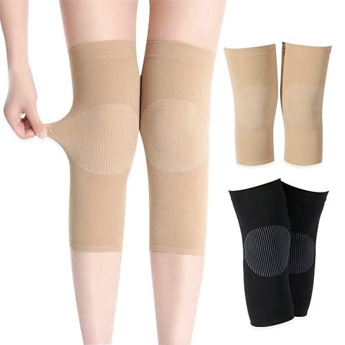 TOFBS Rodilleras térmicas y elásticas, transpirables, antideslizantes, de punto de cachemira, rodilleras de compresión, para aliviar el dolor de las articulaciones, para gimnasio, correr, ciclismo